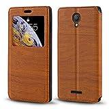 Alcatel Pixi 4 5' 3G 5010D Funda de piel de grano de madera con tarjetero y ventana, tapa magnética para Alcatel Pixi 4 5' 3G 5010D