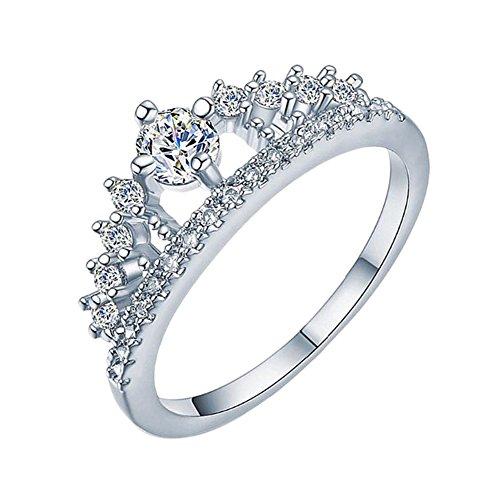 Cosanter Corona Anillo de Diamantes Anillo de Plata Mujer Joyas de Cristal Elegantes para Los Regalos de Boda de Cumpleaños