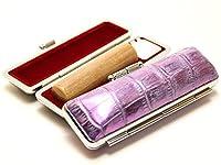 「楓(かえで)印鑑12.0mm×60mmニューカラークロコケース(パープル)付き」 横彫り 吉相体