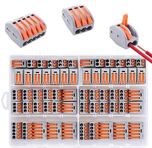 Bornes de Connexion Automatique Rapide, Connecteurs Electriques de Fil avec Levier, 20pcs 2 Entrées, 30pcs 3 Entrées,10pcs 5 Entrées