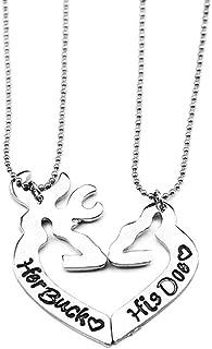 Simple Her Buck&His Doe Heart-shaped Elk Split couple necklace Sets of chain 2PCS