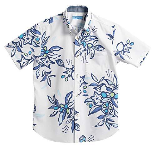 [MAJUN (マジュン)] 国産シャツ かりゆしウェア アロハシャツ 結婚式 メンズ 半袖シャツ ボタンダウン ミラクルフルーツ ブルー L