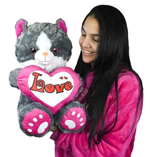 ML Gato de Peluche 45cm Regalo para Día de la Madre con un Oso corazón con Mensaje Love sensación de Felpa Muy Suave (Grises)