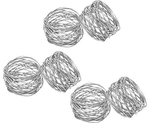Kaizen Casa Handmade Round Mesh Napkin Rings Holder for Dinning Table Parties Everyday, Set of 6 (Silver)