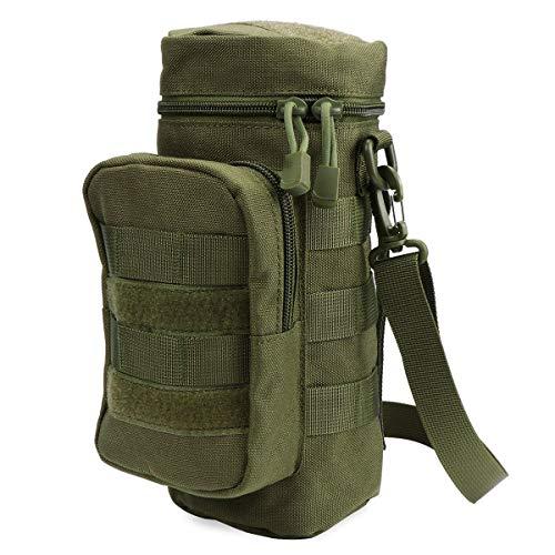 Kyrio Molle Bolsa para botella de agua, bolsa táctica militar para hervidor de agua, bolsa cruzada con bolsa de accesorios extra y correa de hombro desmontable 9.8 pulgadas x 4.3 pulgadas (verde)