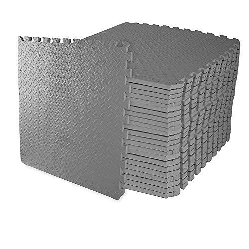 Homgrace Schutzmatten Set 60 x 60 cm Bodenschutzmatten Trainingsmatten Puzzlematten für Bodenschutz, Büro, Fitnessraum, Garage, Fitnessgeräte, Fitness, Yoga (Grau (48 Matten))