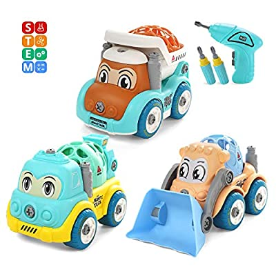 CUTE STONE Take Apart Construction Vehicle Trucks Toy, Building Toy Set with Electric Drill, Dump Truck, Cement Mixer and Bulldozer, Construction Engineering Learning Play Kit STEM for Kids Toddlers