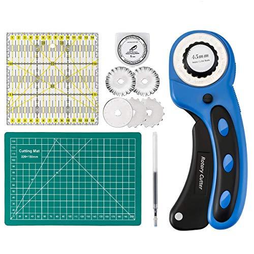 Taglierino rotante Cutter rotativo con lama da 45 mm 5 lame sostitutive per cucito, taglio di tessuto, taglio di carta, taglio di pelle