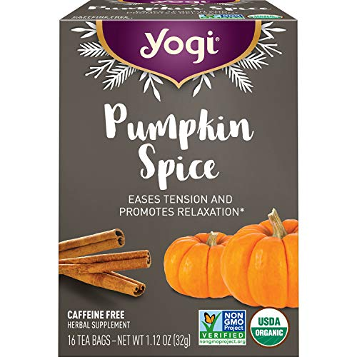 Yogi Tea - Pumpkin Spice Tea (6 Pack) - Eases Tension and Supports Relaxation - Limited Fall Through Winter Holiday Release - Caffeine Free - 96 Organic Herbal Tea Bags