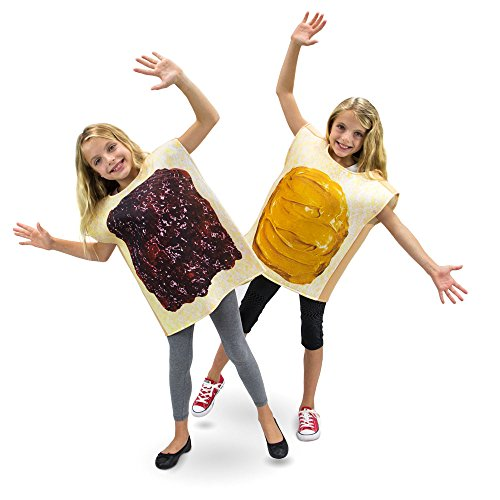Peanut Butter & Jelly Childrens Halloween Dress Up Party Cosplay Costumes 2-Pack (Youth X-Large (10-12)) Brown