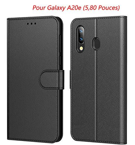 HL Tenphone Etui Coque pour Samsung Galaxy A20e, Protection Housse en Cuir Portefeuille Livre,[Emplacements Cartes],[Fonction Support],[Fermeture Magnétique] pour (Galaxy A20e (5,80 Pouces),Noir)