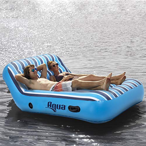 "Aqua Ultra Comfort Pool Lounger, Lake Raft, Two 2-Person Lake-Ocean-Pool Float, Heavy Duty, X-Large, Navy/White Stripe, 64"" x 53"" (162 cm x 135 cm), B07P83G3F6"