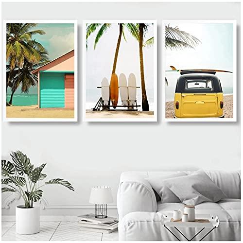 Cuadros Decorativos Modernos para Sala 50x70cm x3 Piezas SIN MarcoCocotero Tabla de Surf Bus Arte de la Pared Playa Mar Carteleslienzos Decorativos Salon Modernos