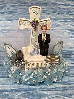 Holy Communion Praying Boy Cake Topper Centerpiece Decoration Keepsake Gift