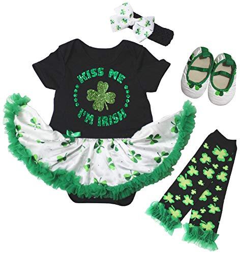 Petitebelle Kiss Me I'm Irish Trèfle Robe de Bébé Jambes Chaud Chaussures Nb-18m - Vert - 120