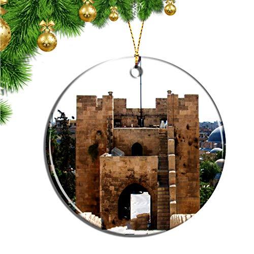 Hqiyaols Ornament Ciudadela de Alepo, Siria Navidad Adornos Colgantes Pieza Cerámica Recuerdo Ciudad Viaje Regalo