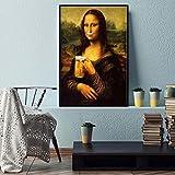 cuadros decoracion lienzowall art Minimalismo de estilo nórdico Mona Lisa imprime cuadros de pintura de cerveza(60x90cm-Frameloos )