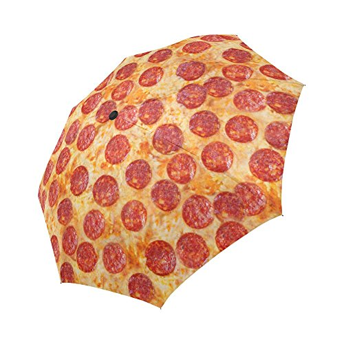 InterestPrint Funny Pepperoni Pizza Windproof Auto Open and Close Foldable Umbrella, Delicious Food Lightweight Portable Outdoor Sun Umbrella with UV Protection