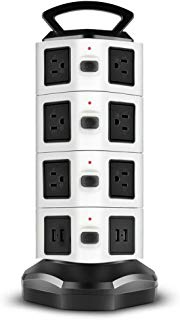 TNP Power Strip with USB Surge Protector - Charger Station Power Supply Adapter Multi Socket Plug Powerstrip Bar Stand Tower, 6FT Extension Cord (14 AC Outlet + 4 USB Port, Black & White)