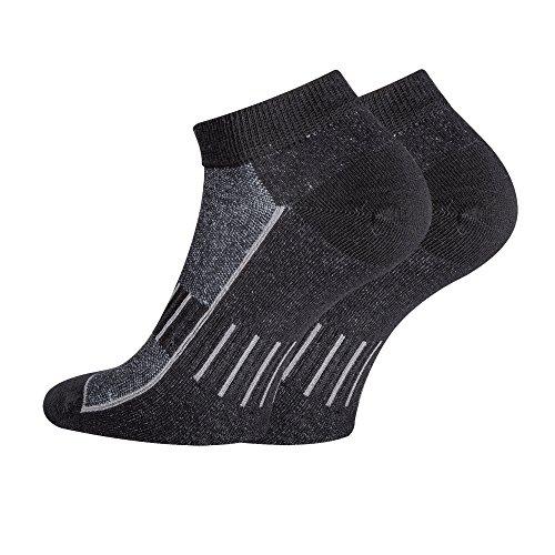TippTexx24 6 Paar Sport-Sneakersocken,fast unsichtbare Socken mit antibakterieller Ausstattung, Black, 39/42-6 Paar