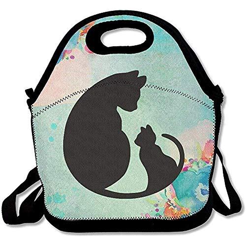 Lunchtas, zwart, kat, bedrukt, met ritssluiting, koelbox, draagbaar, voor het meenemen van film, koeltas, lunchbox, picknick, reis buiten, modieuze handtas
