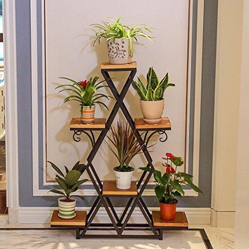 KK- Fer à Repasser de Style européen à Plusieurs étages, Balcon Simple Moderne, Salon, Plancher, Pots à Fleurs, étagères Multi-fonctionnelles en Bois Massif