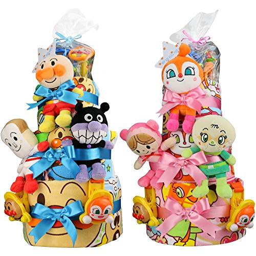 セガトイズ 出産祝い アンパンマン 3段 おむつケーキ おもちゃ (goonパンツタイプMサイズ, 男の子向け(ブルー系))