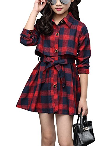 Little & Big Girls' Kids Check Plaid Long Sleeve Collar Neck Casual Button Down Shirt Dress Red Tag 160 (10-11 Years)