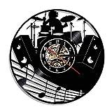 Nfjrrm Juego de batería Tambor Reloj de Pared Rock Disco de Vinilo Reloj de Pared Tambor Instrumento Musical inspiración Reloj de Pared de Cuarzo silencioso 30x30 cm