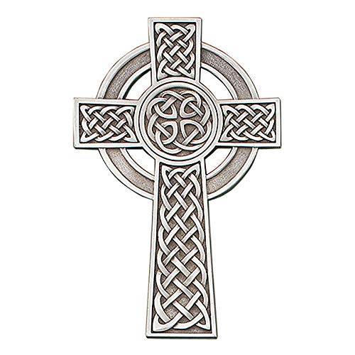 Pewter Irish Knotted Celtic Cross, Religious Wall Decor, 8 Inch