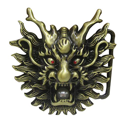 LKMY Chinese Dragon Head 3D Belt Buckle,Mythical Themed Authentic Dragon Designs (E brown)