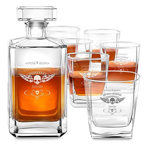 Murrano Whiskey Karaffe + 6er Whiskygläser Set mit Gravur - 700ml Whisky Dekanter - Geschenk zum Geburtstag für Männer - Living Legend