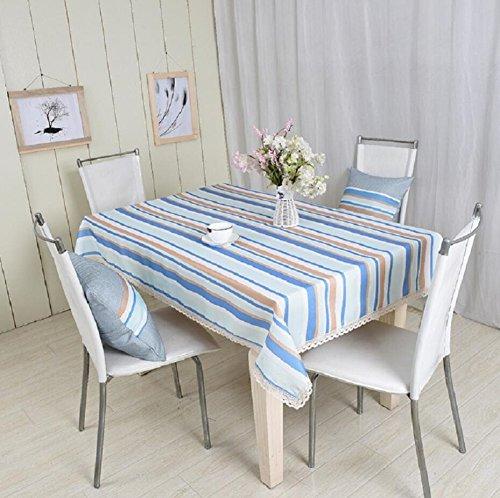 LD&P Nouvelle Table nappes Anti-poussière/antisalissures de café de Haute qualité, Une Table et Une Nappe de décoration en Dentelle Bleu Maison,Blue,130 * 130cm