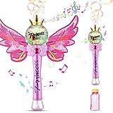 Ucradle Máquina de Burbujas, Máquina Automática Burbujas de Jabon Niños Hadas de Varita Mágica con Luces de Música, Botellas de Burbujas Incluida Pompas Jabon Bubble Maker Juguetes para Niñas 3 Años+