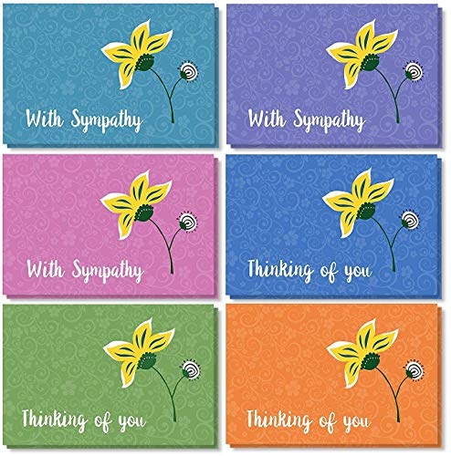 Sympathy Cards Box Set � 36 Pack Sympathy Cards, 6 Floral Designs, Encouragement Cards Bulk, Envelopes Included, 4 x 6 Inches