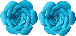 LG-Free 2pcs 12inch Paper Flower Backdrop Decoration Party Paper Flower Wedding Rose Flower Wall Backdrop DIY Paper Handmade Craft for Nursey,Baby Shower,Birthday,Home Decor (12inch, Peacock Blue)