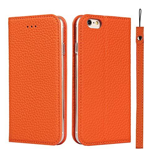 Zouzt Premium Funda de Cuero para iPhone 6s Plus Funda con Tapa magnética con Ranura para Tarjeta y Soporte de Funda de Cuero Genuino con cordón Compatible con iPhone 6 Plus / 6s Plus Naranja
