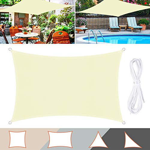 TedGem Vela de Sombra, Vela de Sombra Rectangular, protección Rayos UV, Toldo Resistente e Lmpermeable, para Patio, Exteriores, Jardín (3X5M)