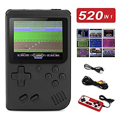 BLANDSTRS Handheld Game Console, Retro Game Player with 520 Classic FC Games 3.0 inch Screen, 800mAh Rechargeable Battery Portable Games Controller Support for 2 Players & TV for Kids & Adult from BLANDSTRS
