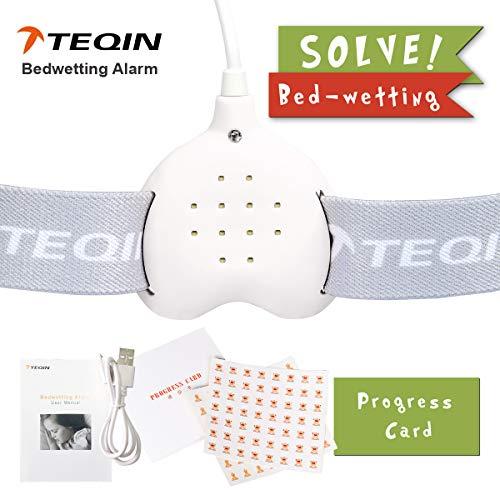 Alarma de enuresis, 3 modos, batería de litio recargable (alta capacidad) con sonido fuerte y fuerte vibración para orinales, entrenamiento de orinal para niños, niñas, todos los niños (blanco)