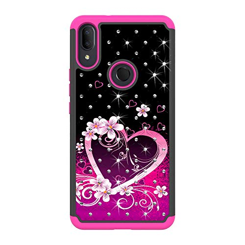 Sparkle Bling Hybrid Cover Phone Case for Alcatel 3V (2019) 5032W + Gift Stand (Pink Heart)