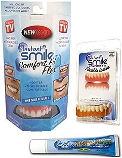 Instant Smile Comfort Flex Upper and Lower Veneers Complete Set with Denture Cream