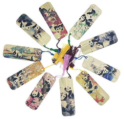 10 PCS Panda Themed Bamboo Chinese Style Bookmarks for Kids School Study Decoration Souvenirs Business Christmas Birthday Gift