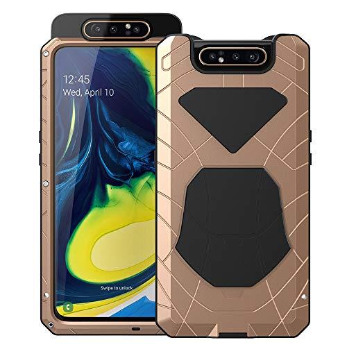 Feitenn Galaxy A80 Case, Samsung A80 Case Heavy Duty, Metal Cover Gorilla Glass Armor Aluminum AlloyBumper Military Shockproof Defender Men Gift Outdoor Hard Shell for Samsung Galaxy A80 2019 - Gold