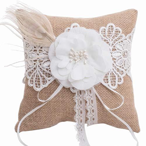 Ringkissen für Trauung - Natur aus Jute - Handgemacht Hochzeitsringkissen Ehering Träger Vintage Stil -Blüte & Feder für Hochzeit Trauringe Verlobung 18,5 cm