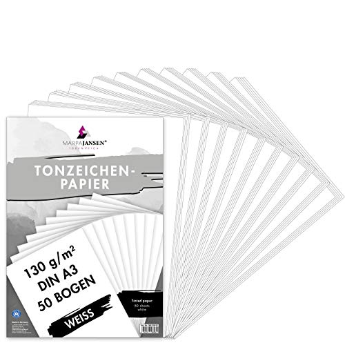 MarpaJansen Tonzeichenpapier Weiß Matt, DIN A3, 50 Bogen, 130g/m² Blauer Engel zertifiziert