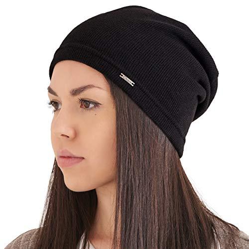 Berretto Donna Autunno Slouchy Beanie - Cappello Uomo Maglia Leggera Moda Coreana Slouch Hipster Nero