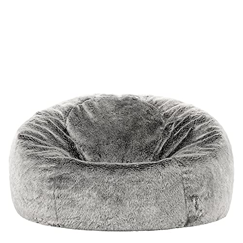 icon Kenai Faux Fur Bean Bag Chair, Arctic Wolf Grey, Luxury Fluffy Bean Bags Adult, Large Bean Bags with Filling Included, Room Decor Lounge Chair Beanbag, Living Room Bean Bag Chairs Adult