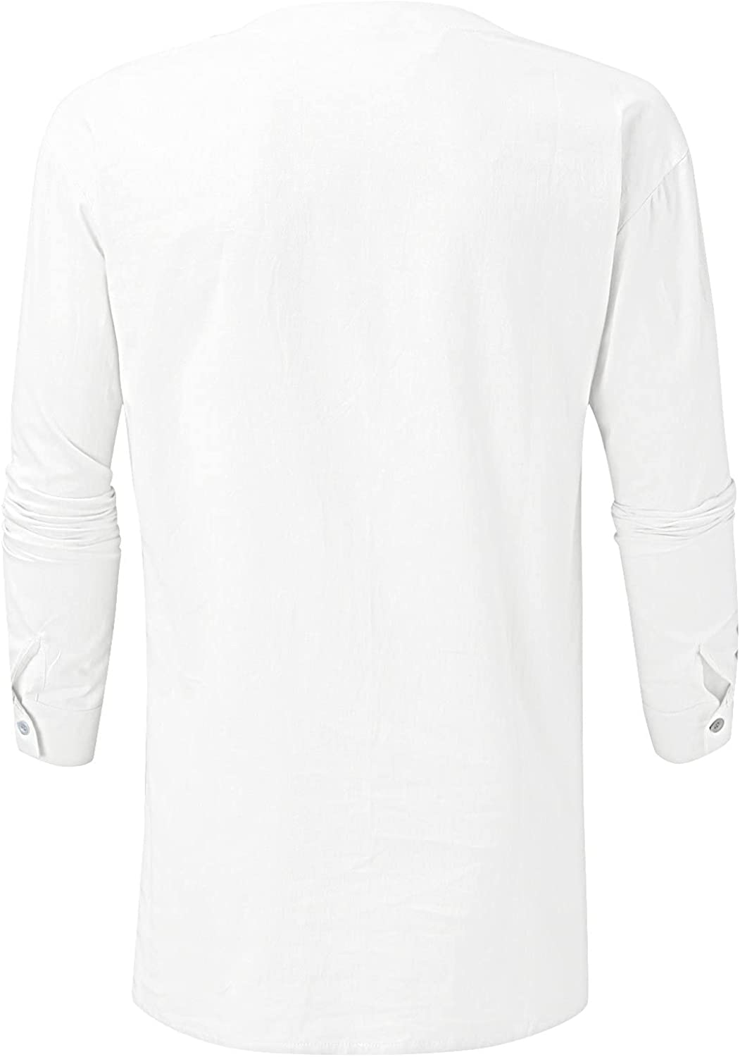 WOCACHI Lace-up Long Sleeve Shirts For Mens, Fall Henley Drawstring V Neck Loose Fit Tee Shirt Casual Solid Tops