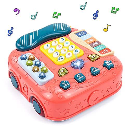 Juguetes Montessori Bebe Teléfono Musical Juguete - 5 en 1 Coches de Juguetes Interactivos Multifuncional Juegos Educativos Piano Infantil Instrumentos Juguetes Regalos para Niños Niñas 3 4 5